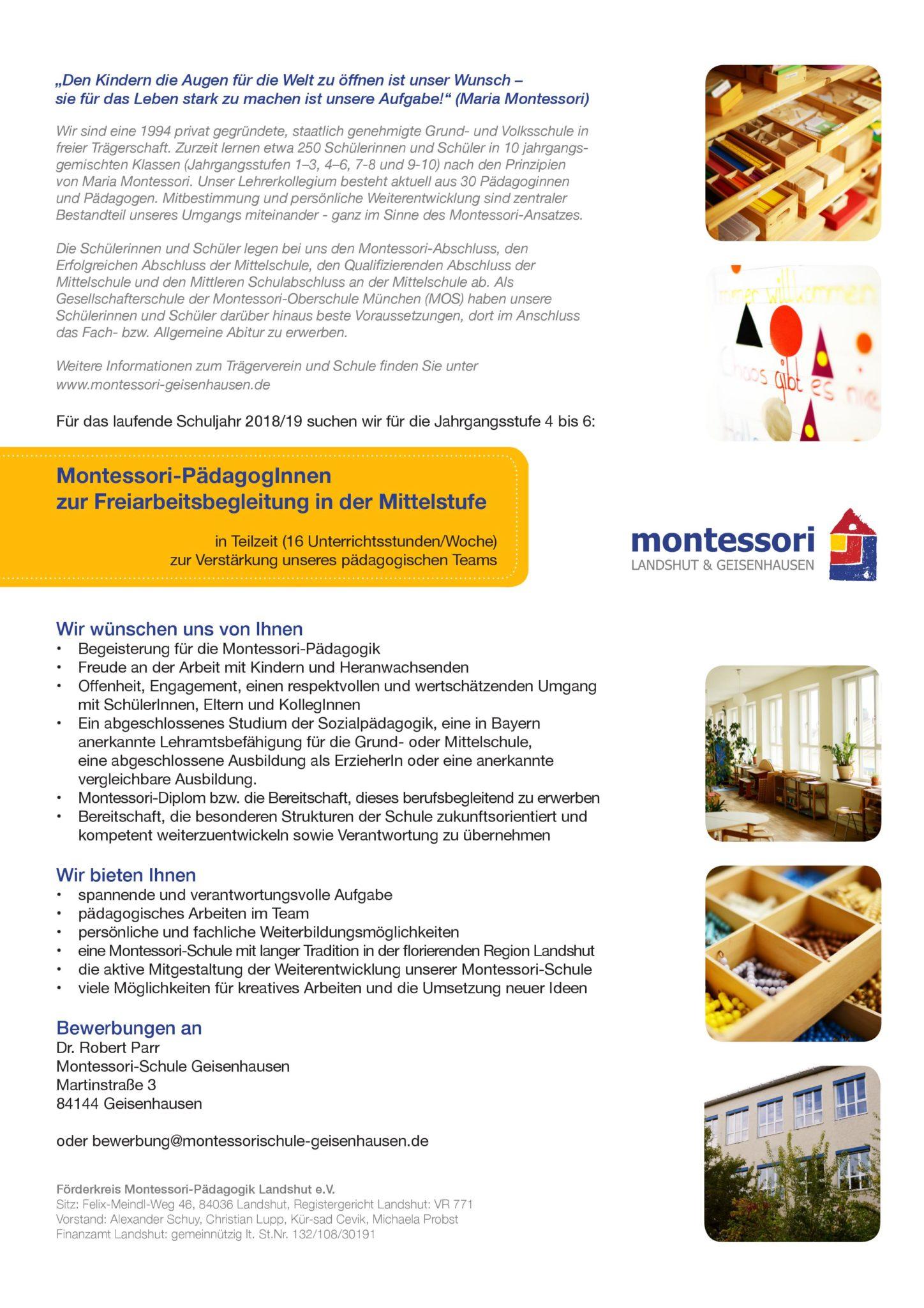 stellenangebote back montessori landshut geisenhausen. Black Bedroom Furniture Sets. Home Design Ideas