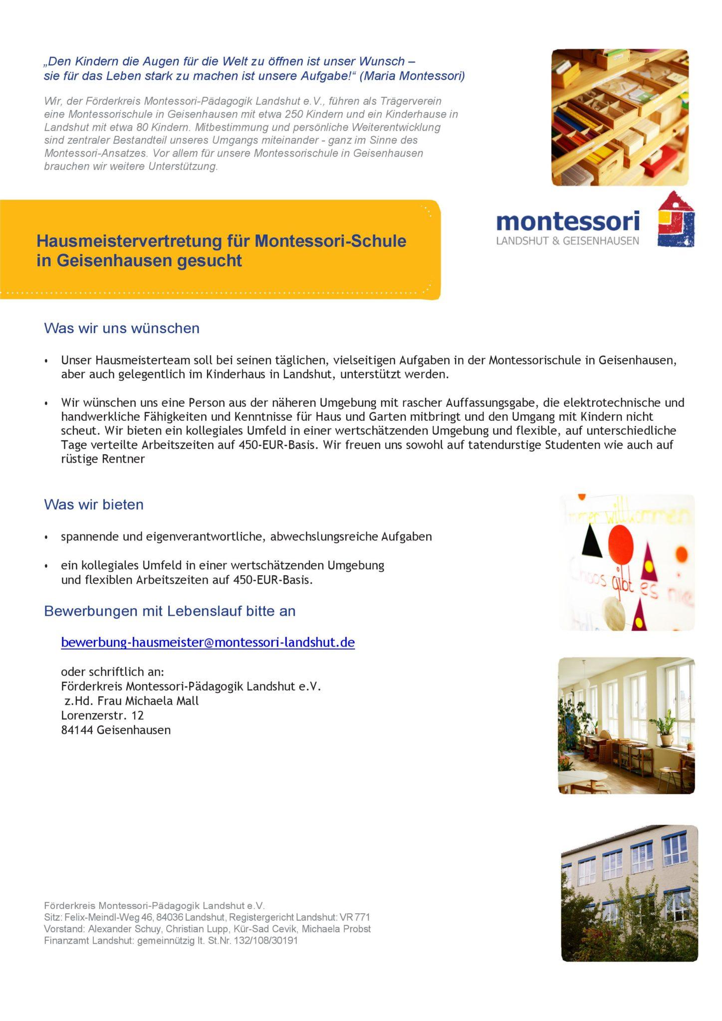 Stellenangebote Montessori Schule Geisenhausen